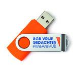 USB stick 8GB oranje 'vrije gedachten'