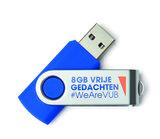 USB stick 8GB blauw 'vrije gedachten'