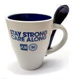 Koffiemok met lepeltje wit/blauw 'Stay strong care along'