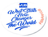 Button 'What starts here changes the world'