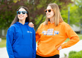 Hoodie blauw en oranje met zonnebril