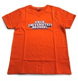 Voorzijde oranje T-shirt met opdruk 'Vrije Universteit Brussel'
