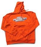 Hoodie 2021 oranje met 'Vrije Universiteit Brussel' op de voorzijde geprint