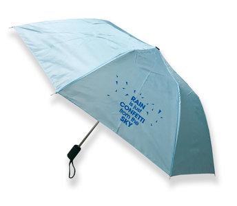Handtasparaplu 'Rain is just confetti from the sky' lichtblauw