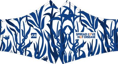 Mondmasker bloemenmotief 'spread love not disease'